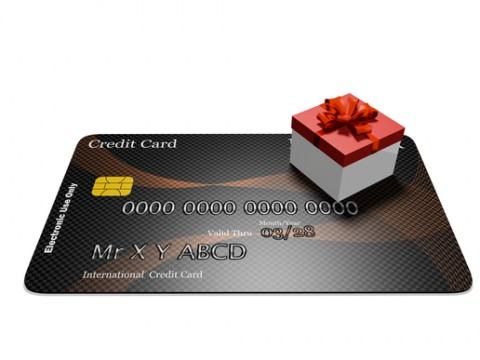 Red gift box on credit card