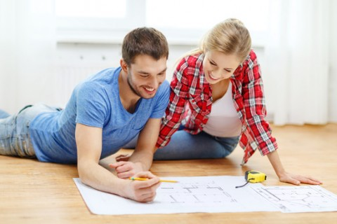 Couple planning home layout